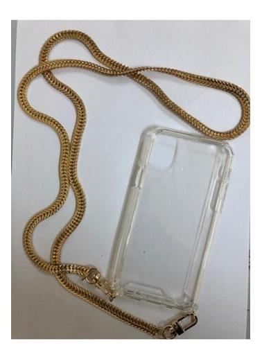 marstec Marstec iPhone 11 Pro Şeffaf Boyun Askılı Altın Zincir Telefon Kılıfı Renksiz